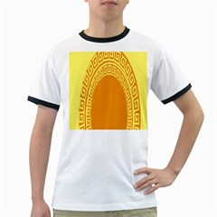 Greek Ornament Shapes Large Yellow Orange Ringer T Shirts by Mariart