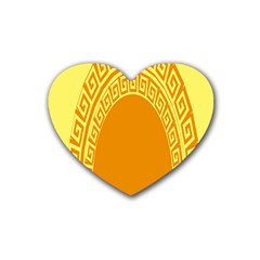 Greek Ornament Shapes Large Yellow Orange Rubber Coaster (heart)  by Mariart