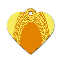 Greek Ornament Shapes Large Yellow Orange Dog Tag Heart (one Side) by Mariart