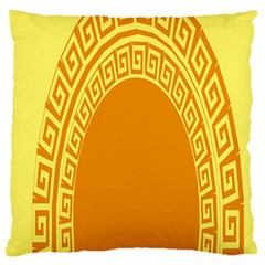 Greek Ornament Shapes Large Yellow Orange Large Cushion Case (two Sides) by Mariart