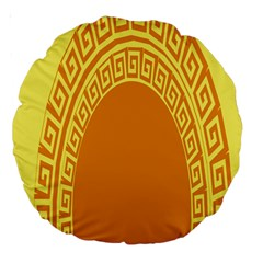 Greek Ornament Shapes Large Yellow Orange Large 18  Premium Round Cushions by Mariart