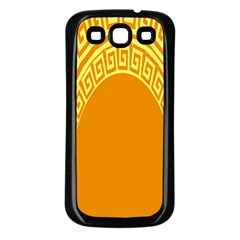 Greek Ornament Shapes Large Yellow Orange Samsung Galaxy S3 Back Case (black) by Mariart