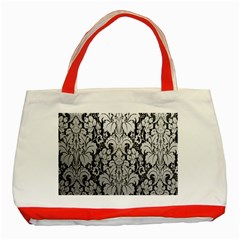 Flower Floral Grey Black Leaf Classic Tote Bag (red) by Mariart