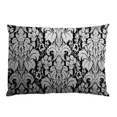 Flower Floral Grey Black Leaf Pillow Case by Mariart
