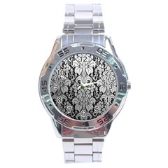 Flower Floral Grey Black Leaf Stainless Steel Analogue Watch by Mariart