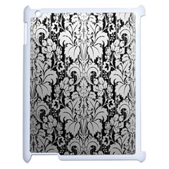 Flower Floral Grey Black Leaf Apple Ipad 2 Case (white) by Mariart