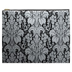 Flower Floral Grey Black Leaf Cosmetic Bag (xxxl)  by Mariart
