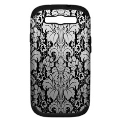 Flower Floral Grey Black Leaf Samsung Galaxy S Iii Hardshell Case (pc+silicone) by Mariart