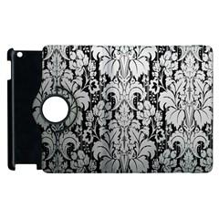 Flower Floral Grey Black Leaf Apple Ipad 3/4 Flip 360 Case by Mariart