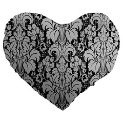 Flower Floral Grey Black Leaf Large 19  Premium Flano Heart Shape Cushions by Mariart