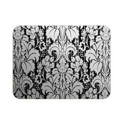 Flower Floral Grey Black Leaf Double Sided Flano Blanket (mini)  by Mariart