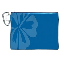 Hibiscus Sakura Classic Blue Canvas Cosmetic Bag (xxl) by Mariart