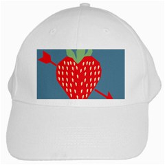 Fruit Red Strawberry White Cap by Mariart