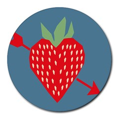 Fruit Red Strawberry Round Mousepads by Mariart