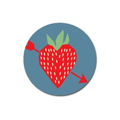 Fruit Red Strawberry Magnet 3  (round) by Mariart
