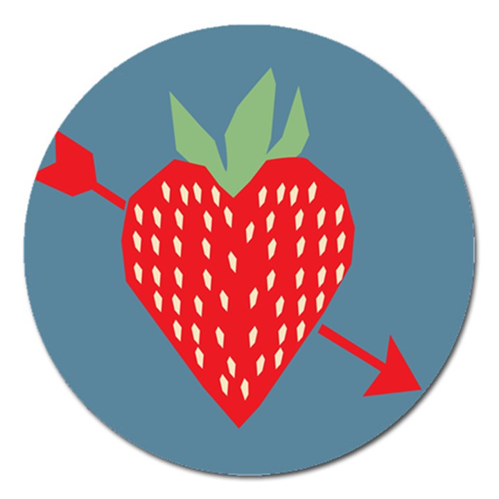 Fruit Red Strawberry Magnet 5  (Round)