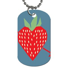 Fruit Red Strawberry Dog Tag (two Sides) by Mariart