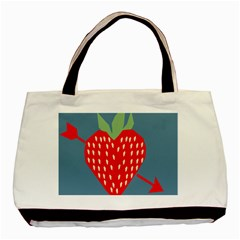 Fruit Red Strawberry Basic Tote Bag (two Sides) by Mariart