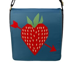 Fruit Red Strawberry Flap Messenger Bag (l)  by Mariart
