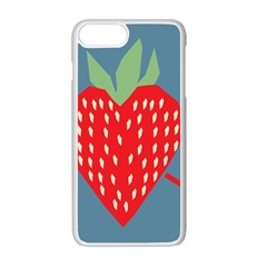 Fruit Red Strawberry Apple Iphone 7 Plus White Seamless Case by Mariart