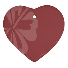 Hibiscus Sakura Red Heart Ornament (two Sides) by Mariart