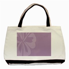 Hibiscus Sakura Lavender Herb Purple Basic Tote Bag by Mariart