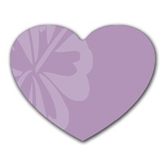 Hibiscus Sakura Lavender Herb Purple Heart Mousepads by Mariart
