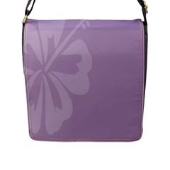 Hibiscus Sakura Lavender Herb Purple Flap Messenger Bag (l)  by Mariart