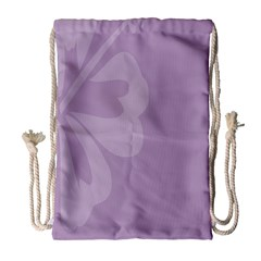 Hibiscus Sakura Lavender Herb Purple Drawstring Bag (large) by Mariart