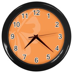Hibiscus Sakura Tangerine Orange Wall Clocks (black) by Mariart
