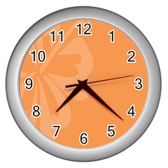 Hibiscus Sakura Tangerine Orange Wall Clocks (silver)  by Mariart