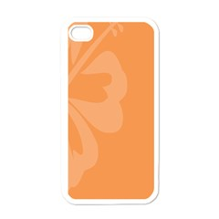 Hibiscus Sakura Tangerine Orange Apple Iphone 4 Case (white) by Mariart