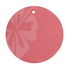 Hibiscus Sakura Strawberry Ice Pink Round Ornament (two Sides) by Mariart