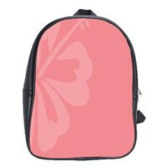 Hibiscus Sakura Strawberry Ice Pink School Bags(large)  by Mariart