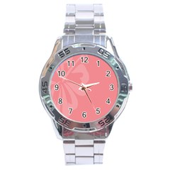 Hibiscus Sakura Strawberry Ice Pink Stainless Steel Analogue Watch by Mariart