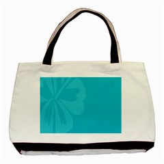 Hibiscus Sakura Scuba Blue Basic Tote Bag (two Sides) by Mariart