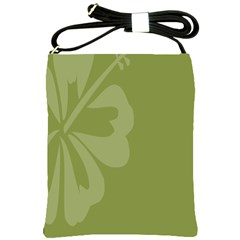 Hibiscus Sakura Woodbine Green Shoulder Sling Bags by Mariart
