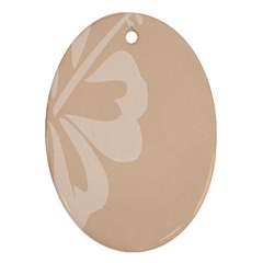Hibiscus Sakura Toasted Almond Grey Oval Ornament (two Sides) by Mariart