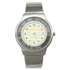 Horizontal Line Yellow Blue Orange Stainless Steel Watch by Mariart