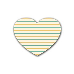 Horizontal Line Yellow Blue Orange Rubber Coaster (heart)  by Mariart