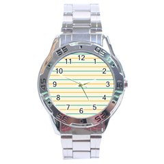 Horizontal Line Yellow Blue Orange Stainless Steel Analogue Watch by Mariart