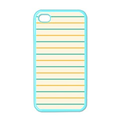 Horizontal Line Yellow Blue Orange Apple Iphone 4 Case (color) by Mariart