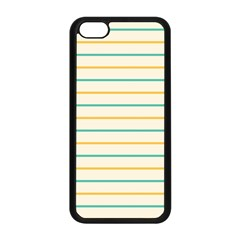 Horizontal Line Yellow Blue Orange Apple Iphone 5c Seamless Case (black) by Mariart