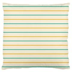 Horizontal Line Yellow Blue Orange Large Flano Cushion Case (two Sides) by Mariart