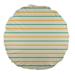 Horizontal Line Yellow Blue Orange Large 18  Premium Flano Round Cushions by Mariart