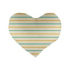 Horizontal Line Yellow Blue Orange Standard 16  Premium Flano Heart Shape Cushions by Mariart