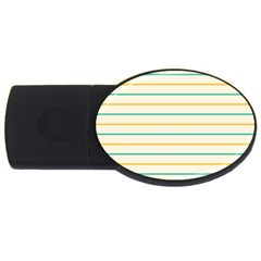 Horizontal Line Yellow Blue Orange Usb Flash Drive Oval (2 Gb) by Mariart