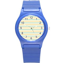 Horizontal Line Yellow Blue Orange Round Plastic Sport Watch (s) by Mariart