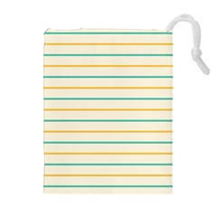 Horizontal Line Yellow Blue Orange Drawstring Pouches (extra Large) by Mariart