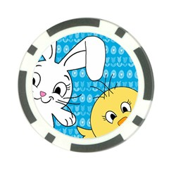 Easter Bunny And Chick  Poker Chip Card Guard (10 Pack) by Valentinaart